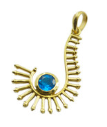 gorgeous blue topaz cz Gold Plated Blue Pendent Natural jaipur US gift - $9.89