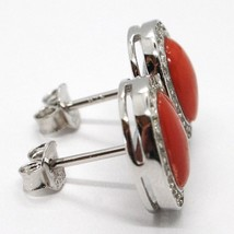 Boucles D'Oreilles 925, Ovale Zirconia, Corail Rouge Cabochon, Made In Italy image 2