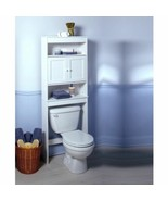 NEW Bath Storage Space Saver Over Toilet Shelf Doors White Bead Bathroom... - $83.06