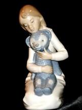 NAO marked Lladro Girl holding teddy bear AA19-1635 Vintage