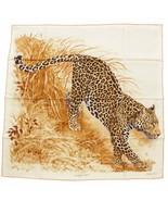 Hermes Scarf PANTHERA PARDUS 90 cm Silk Beige brown Carre Shawl Stole 35... - $443.52