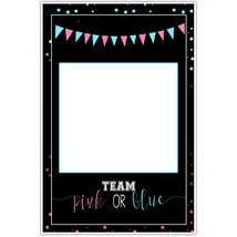 Team Pink or Blue Gender Reveal Baby Shower Selfie Frame Social Media Ph... - $16.34+