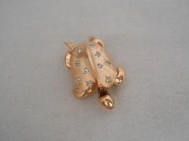 Turtle Trembler Brooch Pin Starburst Rhinestones Rose Gold Tone Figural ... - $23.75