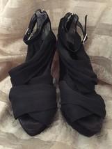 Va Voom! Enzo Angiolini Black Suede Zip-Up Heels Sz 7M Eaquence - $15.25