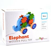 Applesauce Elephant Baby Wooden Pull Toy w Gears for Children Ages 18+ Month image 7