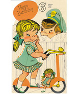 Vintage Birthday Card Girl on Scooter with Doll Boy Dog Sangamon Die Cut - $8.90