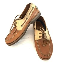 Sperry Top-Sider Mens Brown Leather Boat Shoes 10M Comfort Slip On Lace Up - $39.59