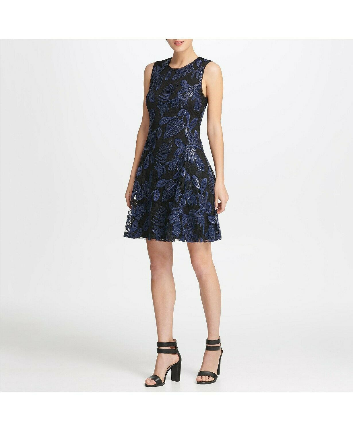 Primary image for DKNY Sequin Mesh Fit Flare Dress Black/Blueberry Size 2 $159