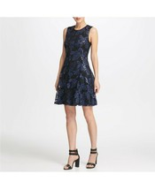 DKNY Sequin Mesh Fit Flare Dress Black/Blueberry Size 2 $159 - $47.49