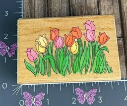 Stampendous Fun Stamps 1996 Spring Tulips Bed Flowers Rubber Stamp #D49 - $6.44