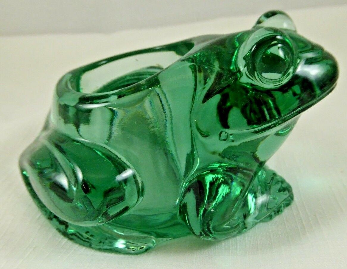 Primary image for VINTAGE INDIANA GLASS~ FROG~candle Holder - Spanish Green                    p52