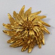 Gold Tone Flower Brooch Vintage  image 1