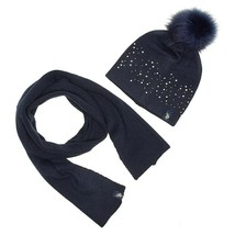 U.s. Polo Assn. Women's Knit Scarf & Pom Pom Hat Set Navy Blue New w Tag... - $9.38