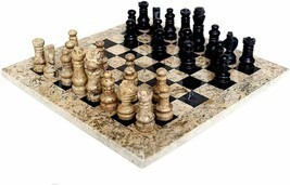 JT Handmade Fossil Coral and Black Marble Chess Set Game Original - 15 i... - £363.61 GBP