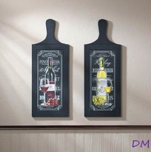 Set of 2 Wine Bottle Wall Art Plaques Perfect for Kitchen, Bar Decor - $33.90