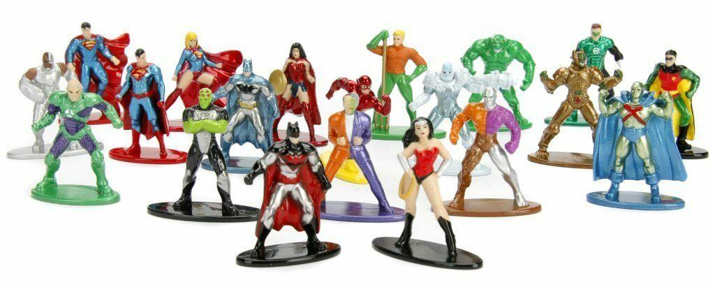 New Nano Metal (5) Figures Superman,Supergirl,Batman,Aquaman,Lex Luthor Pack B