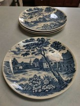 "Vintage English Village Japan Dinner Plates  9 1/4"" set of 4 Stonewear - $8.42"