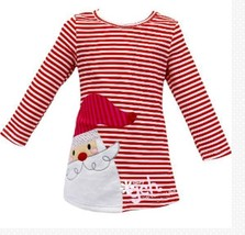 Girl's Santa Christmas Holiday Boutique Dress Red White Striped NEW - $21.99