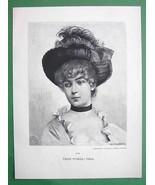 LOVELY MAIDEN Czech Girl Viola - VICTORIAN Era Original Engraving - $13.49