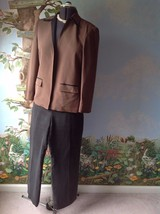 Kasper Petite Brown and Gray Silk Long Sleeve Pant Suit Size 8P - $45.04