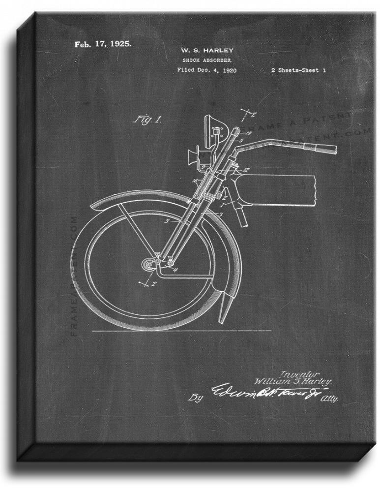 Primary image for Harley Motorcycle Shock Absorber Patent Print Chalkboard on Canvas