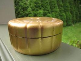 Gold Metallic Vanity Trinket Powder Scalloped Dresser Jar Box Patented V... - $5.70