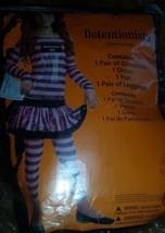 COSTUME! Black/ pink detentionist/ Jail Costume Size 8/10 dress/ legging... - $11.30