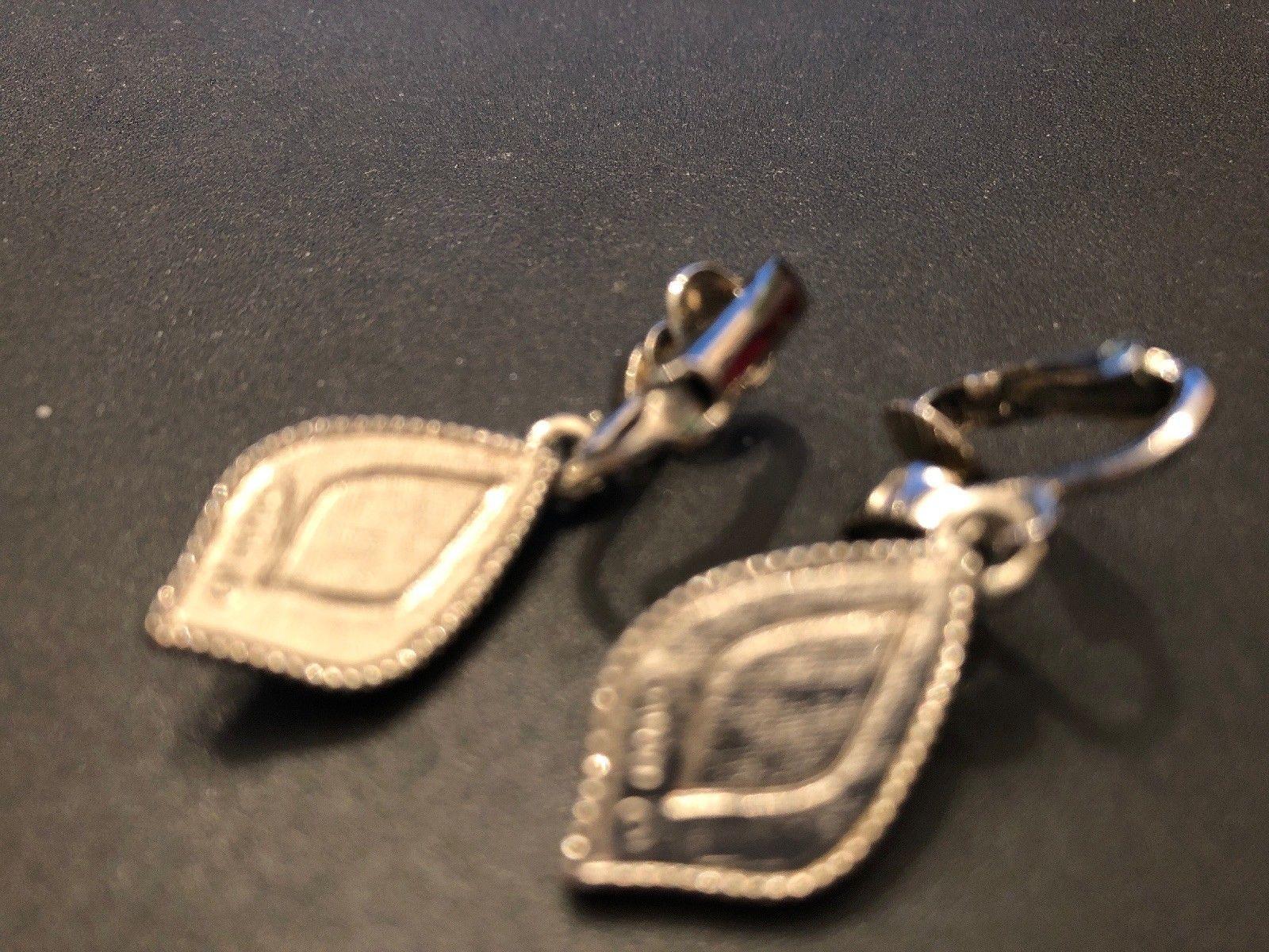 Vintage Avon Signed Purple Romantic Splendor Dangle Clip Earrings Silver Tone