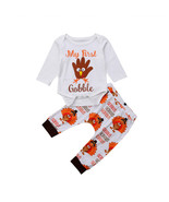 Hanksgiving my 1st infant baby boys girls cotton tops bodysuits long pants outfit kids thumbtall