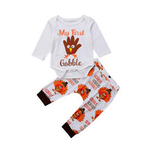 PUDCOCO Newest Thanksgiving My 1st Infant Baby Boys Girls Cotton Tops Bo... - $9.18
