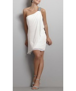 One Shoulder Beaded Wedding Dress,White Chiffon Homecoming  Party Dresse... - $115.00