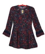 American Eagle Womens Juniors Dress M Medium Blue Red Paisley Boho Long ... - $44.50