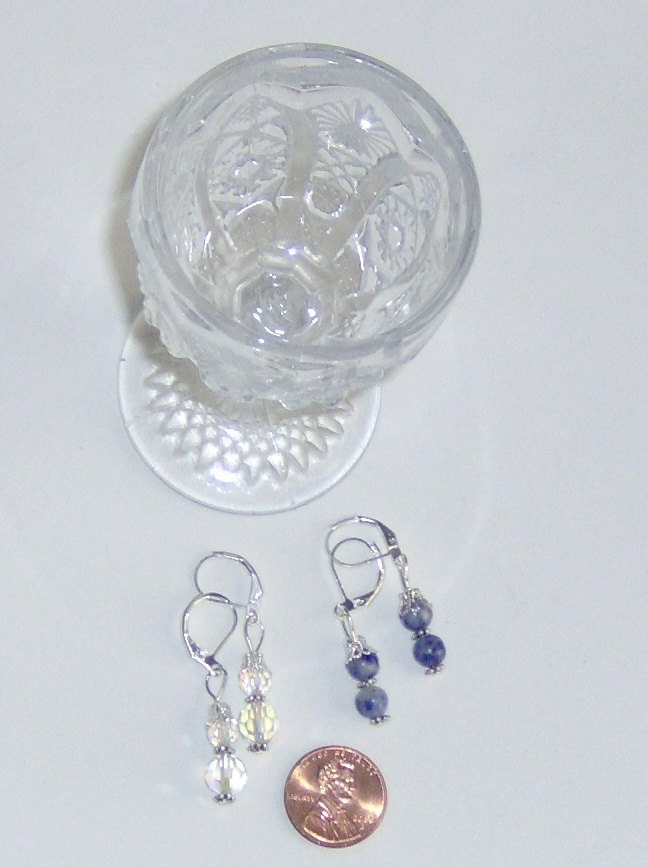 American Made!  Double Blossom Earrings, Round Blue Marble Agate or Clear Crysta