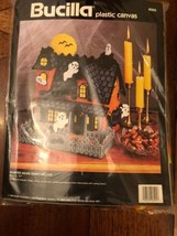 BUCILLA 1992 Haunted House Plastic Canvas Kit Candy Holder- 6095 Halloween-VTG. - $22.06