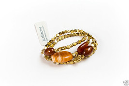 Liz Claiborne Goldtone Semi-Precious Accents Stretch Bracelet New - $14.99