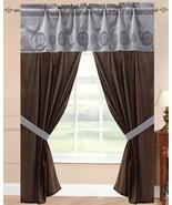 "- 5pc -42x84"" Ponte-Vedra Window Curtain Drape Aqua/Choco - $31.20"