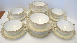 Set of Eight Eggshell & Gold Nippon Cream Soups & Saucers - $60.79