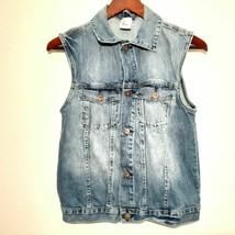 girls denim waistcoat vest size 14Y blue H&M sleeveless faded jean butto... - $14.81