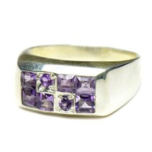 Real Mixed Cut Amethyst Ring Band Silver Fine Jewelry US 4,5,6,7,8,9,10,... - £27.26 GBP