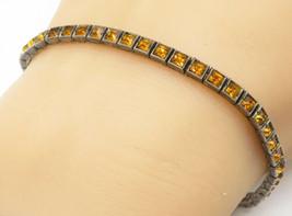 925 Silver - Vintage Square Cut Citrine Dark Tone Tennis Bracelet - B4922 - $41.98