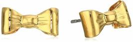 USA Made ECRU Gold Tone Metal Bow Post Earrings NWT image 1