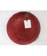 AKCAM TURKISH GLASS GLITTER SPARKLERED SALAD CHRISTMAS PLATES SET OF 2 - $26.99