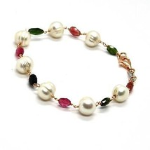 SILVER 925 BRACELET WITH TOURMALINE GREEN, ROSE AND WHITE PEARLS - $112.09