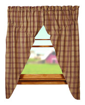 country primitive farmhouse cabin Cottonwood Red tan plaid PRAIRIE CURTAINS - $62.95