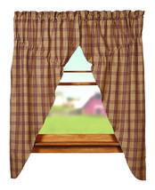 country primitive farmhouse cabin Cottonwood Red tan plaid PRAIRIE CURTAINS - $62.95