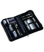 Leather Travel Groom Set Black Men Accessories Chrome Kit 1 Pound Bags H... - $92.86