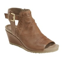 Earth Peep-Toe wedges W Buckle Detailing - Attalea Bonaire Ginger 9 M - $108.89