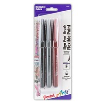 Pentel Arts Sign Pen Touch, Fude Brush Tip, Black/Grey/Sepia Pack of 3 S... - $9.47