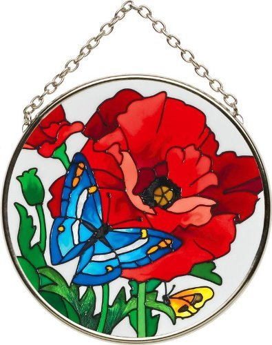 Art Glass Suncatcher - Butterfly & Poppy Glass Suncatcher