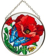 Art Glass Suncatcher - Butterfly & Poppy Glass Suncatcher - $9.99